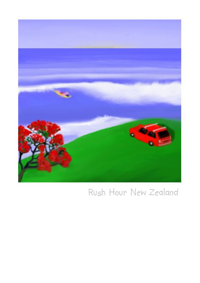 Rush Hour New Zealand.  Wholesale Greeting Cards by Peter Karsten.  A mini parked overlooking a surf scene and a pohutukawa tree.
