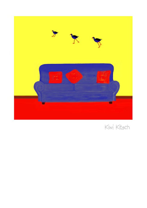 Wholesale Greeting Cards.  Kiwi Kitsch by New Zealand Artist Peter Karsten.  Pukeko resemling the iconic flying ducks.  Kiwiana to the max.    The inside of this NZ greeting card, note card, art card, gallery card, has been left blank for your own personal message.