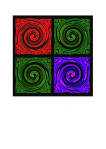 Multi Coloured Koru by New Zealand Artist Peter Karsten.  Wholesale Greeting Cards,  note cards and art cards.  This contemporary artwork of the Koru symbolises New Life, New Beginnings, Growth, Peace and Harmony.