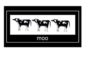 Moo by New Zealand Artist Peter Karsten.  Friesan calves on wholesale greeting cards.