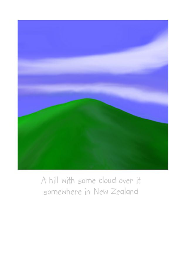 A Hill in New Zealand by NZ Artist Peter Karsten. Wholesale greeting cards, note cards & art cards