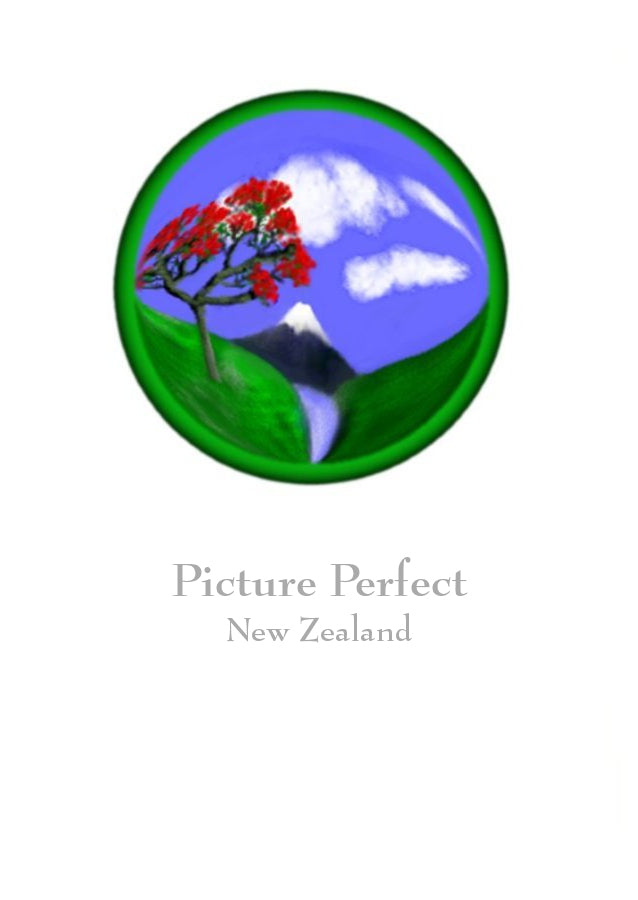 Picture Perfect by New Zealand Artist Peter Karsten.  Mountain scene with river and pohutukawa tree.  Wholesale Greeting Cards