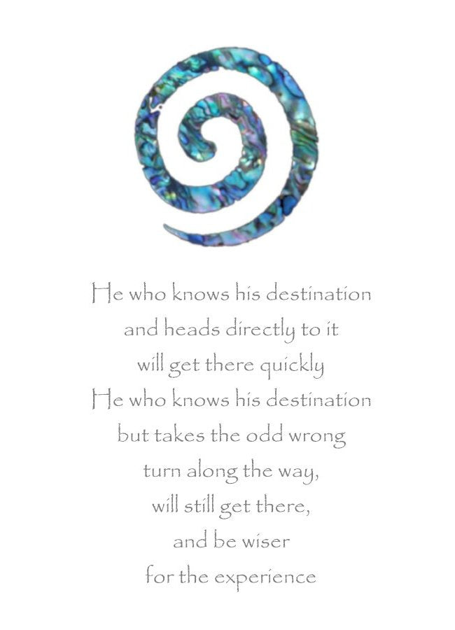 Paua Swirl Greeting Card with inspirational message by New Zealand Artist and Writer Peter Karsten