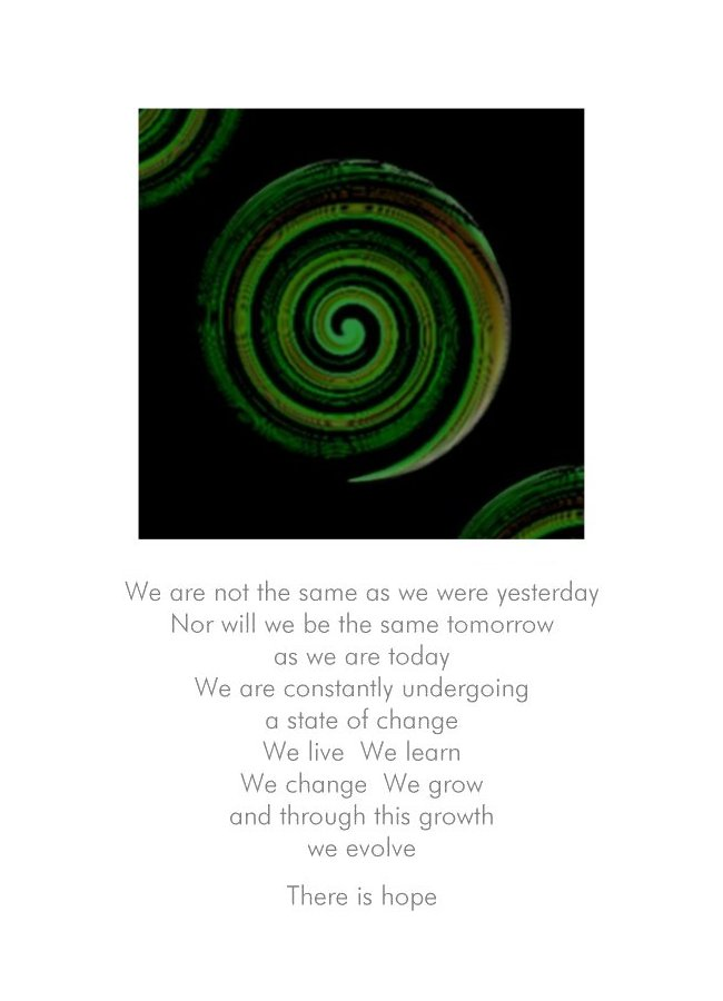 Evolution by NZ Artist and Writer Peter Karsten.  Greeting card with koru image and inspirational verse.