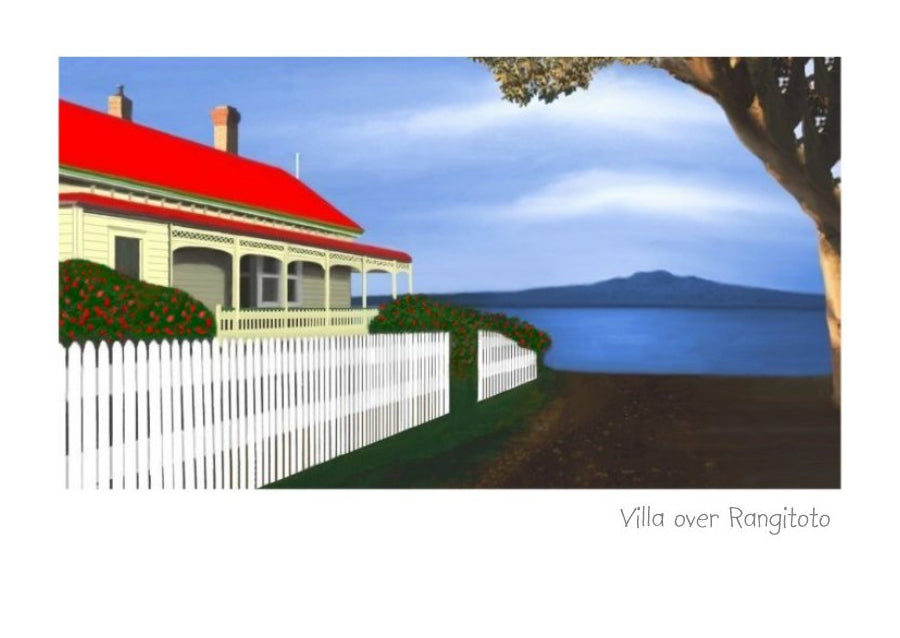 Greeting card, art card, note card of old villa overlooking Rangitoto by NZ Artist Peter Karsten.