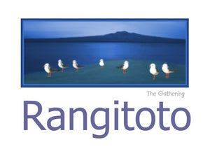 "A group of Seagulls overlooking Rangitoto titled ""The Gathering."" by Peter Karsten.  The inside of this NZ greeting card, note card, art card, gallery card, has been left blank for your own personal message."