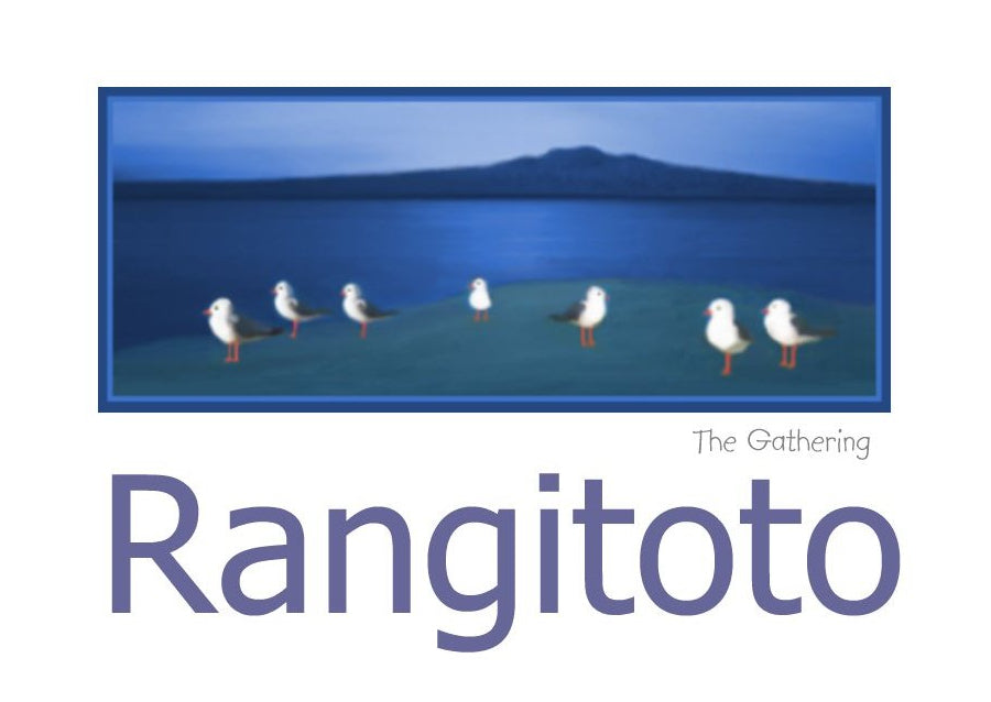 A group of Seagulls overlooking Rangitoto titled