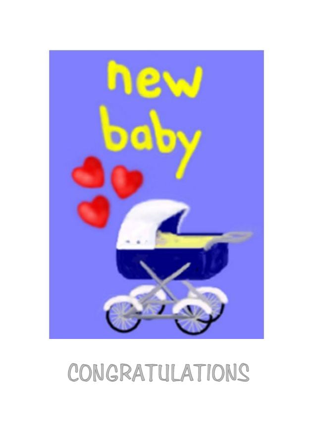 Old fashioned pram with love hearts on this New Baby greeting card by Peter