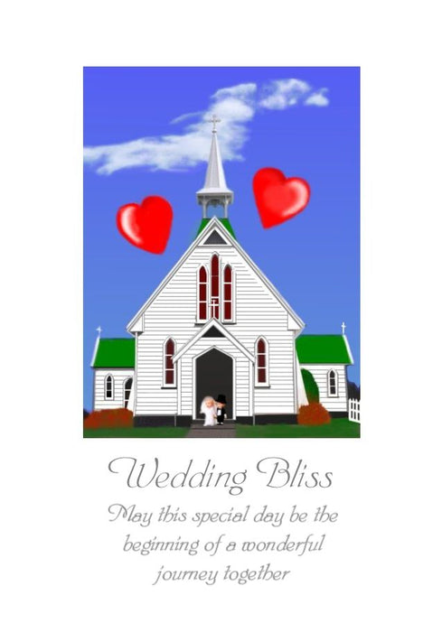 Wedding Greeting Card - Wedding Bliss - Blank on the inside