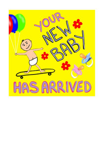 New Baby card with a baby in nappies arriving on a skateboard by nz artist Peter Karsten.  Nice bright yellow background.