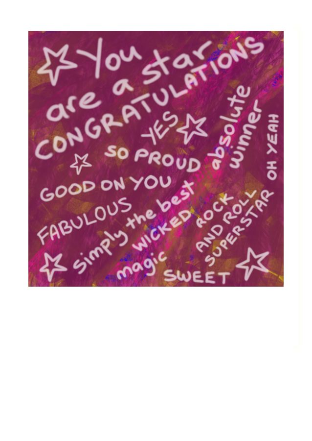 A lot of different ways to congratulate someone on this greeting card that says it all.  Kiwi slang and lots of affirmative messages.  Sweet.  The inside of this card has been left blank for your own personal message.
