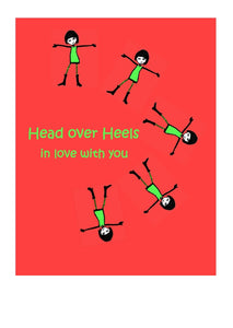 Greeting Card - head over heels in love with you.  Blank on the inside.