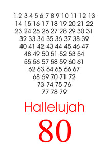 Hallelujah.  A designer greeting card for an eighty year old by Peter Karsten
