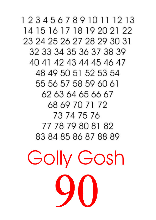 Golly Gosh 90 Kiwi Slang cards by Peter Karsten.  Designer Birthday card for a ninety year old.