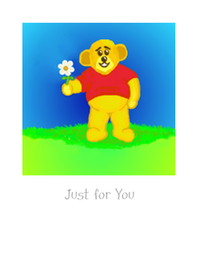 Bear holding daisy. New Zealand Greeting Card by teacher and artist Pauline Schmidt.  Deightful image of bear offering a Daisy just for you.