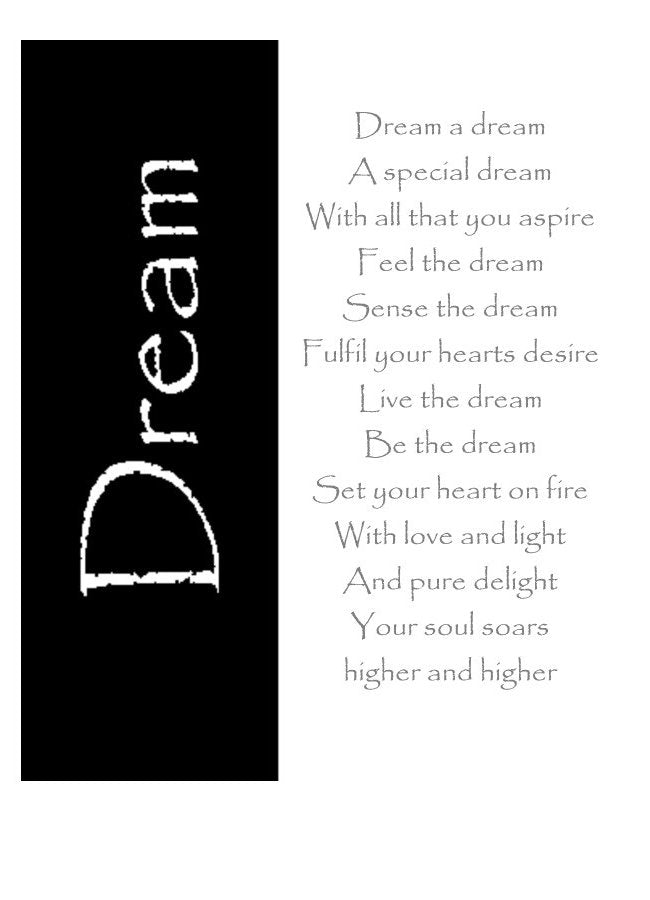 Greeting card with inspirational verse giving hope.  Dream a Dream by Peter Karsten, from his Little Book of Wisdom