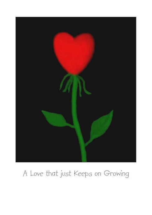 A love that grows romantic greeting card, art card. Blank inside for your own personal message.