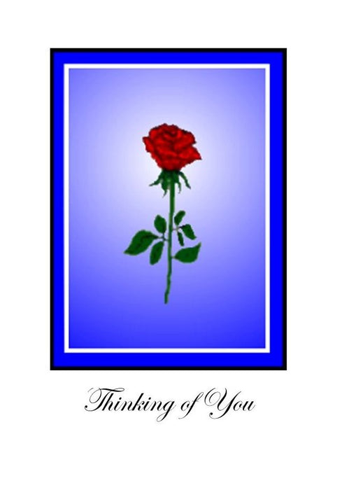Thinking of You - Sympathy card with a single red rose.