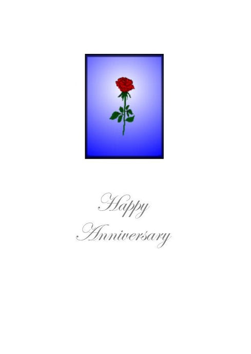 A lovely simple image of a red rose on this Happy Anniversary Greeting Card.