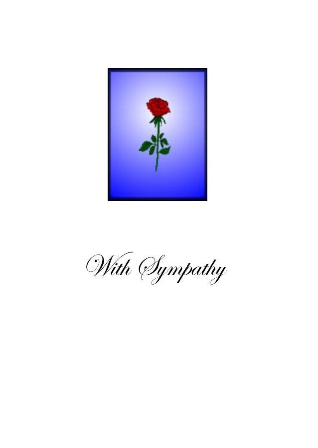 Sympathy Card with red rose.  Simple yet sincere. Blank on the inside.