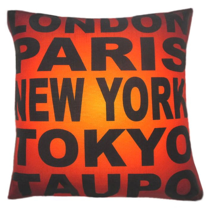 A souvenir of Lake Taupo New Zealand.  Cushion cover with London Paris New York Tokyo Taupo.