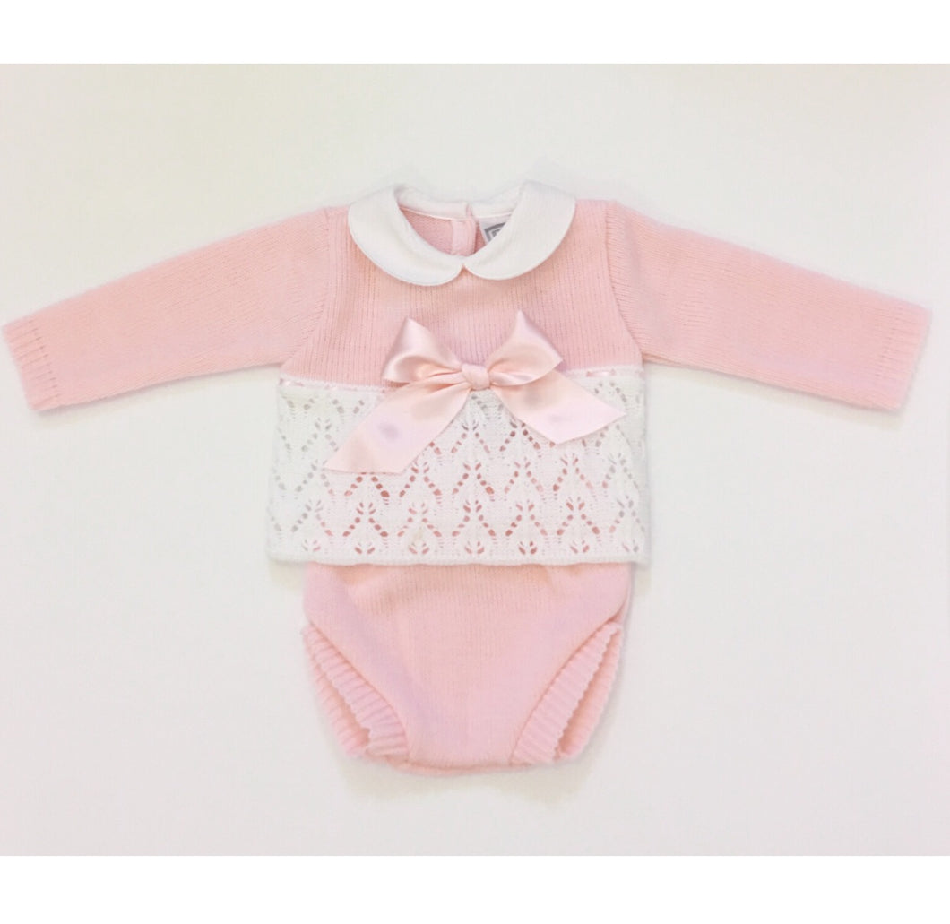 Pink Knitted Bow Jampants Set