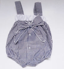 Load image into Gallery viewer, Navy Stripe Romper