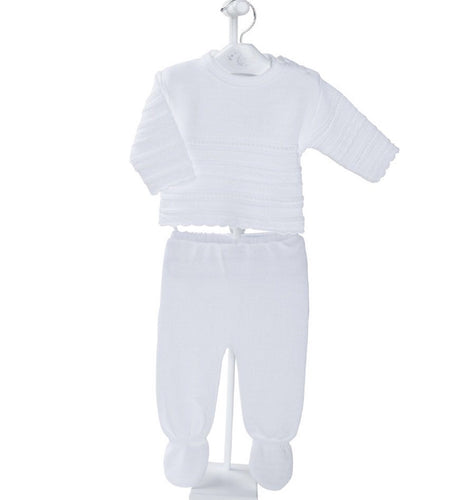 Unisex White Knitted Two Piece