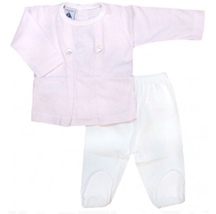 Babidu Pink Pinstriped Cotton Set