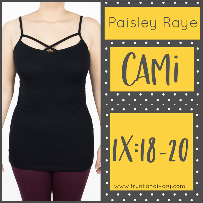 Paisley Raye Cami Criss Cross Cami Top -Black-1X