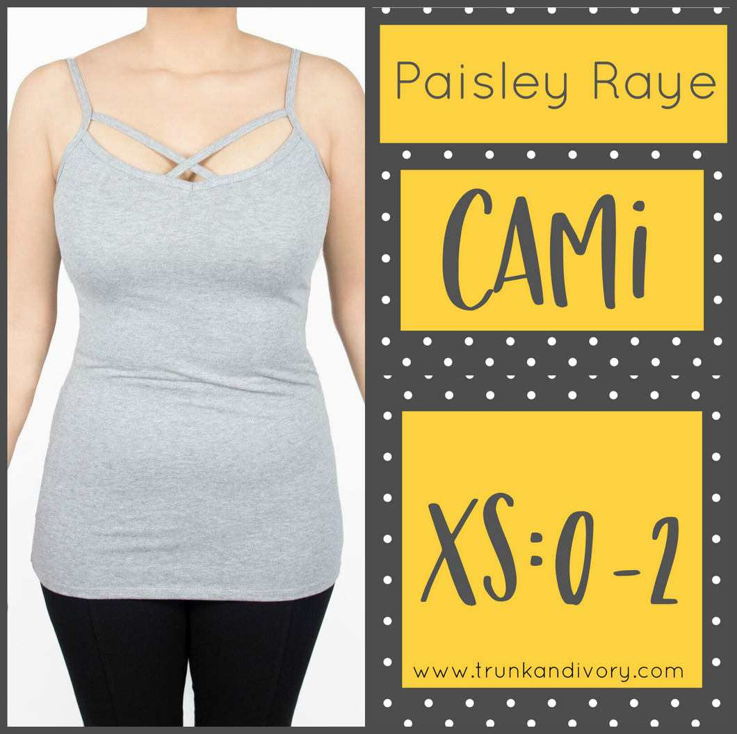 Paisley Raye Criss Cross Cami- XS- Gray By, Trunk and Ivory, Shop now at www.trunkandivory.com