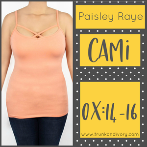 Paisley Raye Criss Cross Cami Top- 0X  - Peach Shop at Trunk and Ivory www.trunkandivory.com