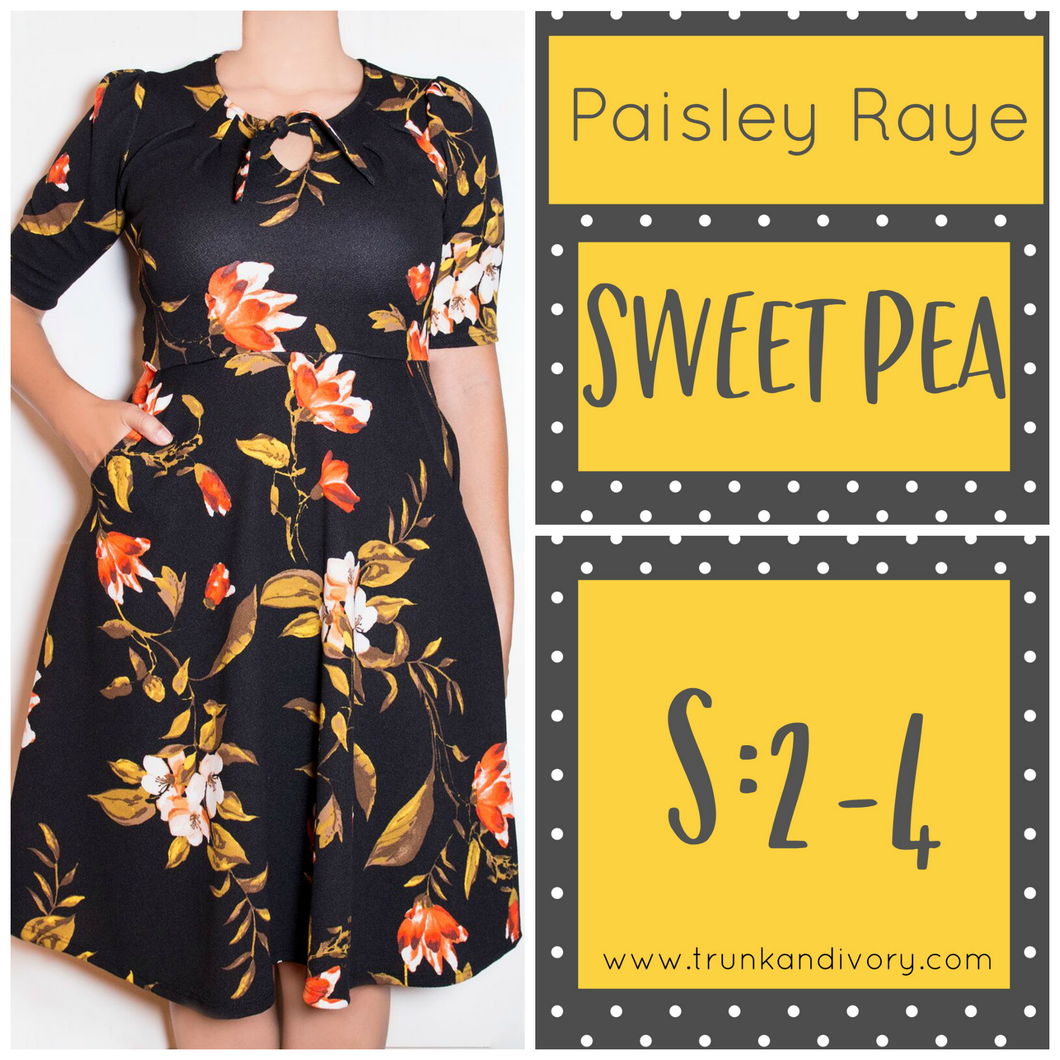 Paisley Raye Sweet Pea Dress-Black Floral-S By, Trunk and Ivory, Shop now at www.trunkandivory.com