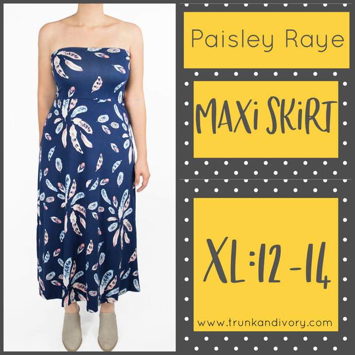 Paisley Raye Maxi Skirt (Blue Feathers, XL) Shop this and more at www.trunkandivory.com