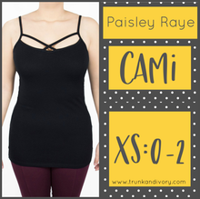 Load image into Gallery viewer, Paisley Raye Criss Cross Cami- XS- Black By, Trunk and Ivory, Shop now at www.trunkandivory.com