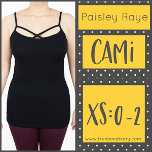 Paisley Raye Criss Cross Cami- XS- Black By, Trunk and Ivory, Shop now at www.trunkandivory.com