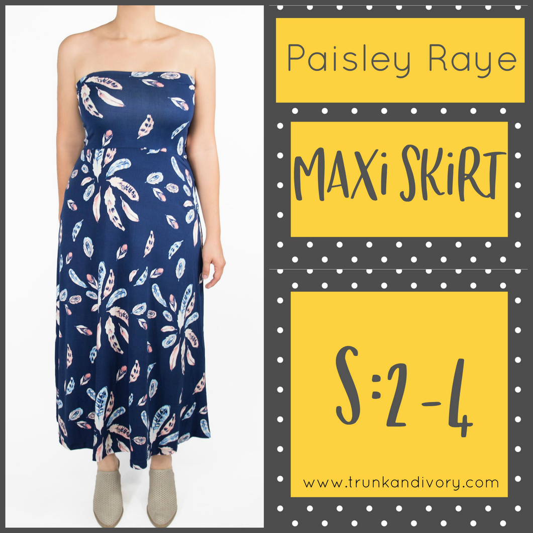 Paisley Raye Convertible Maxi Skirt-Blue Feathers-Size S
