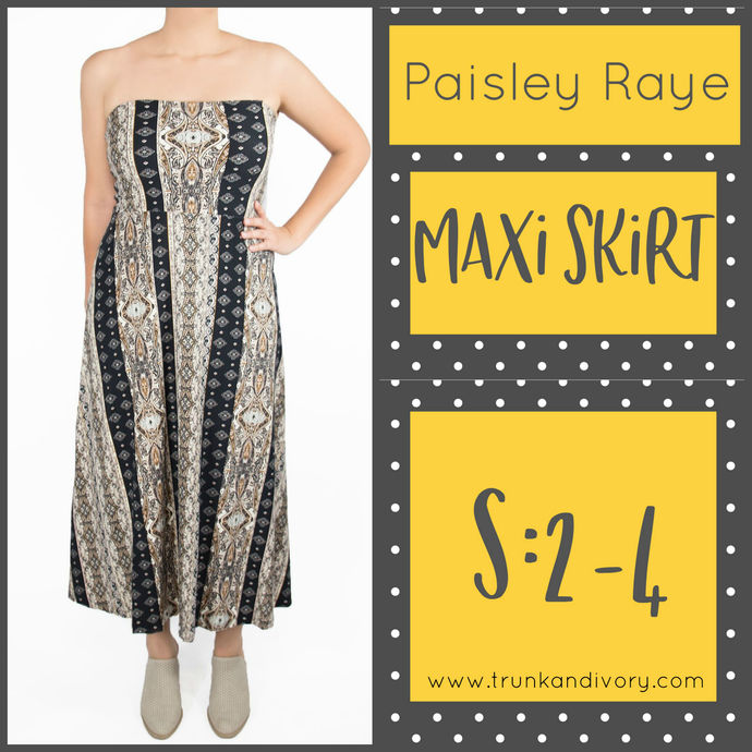 Paisley Raye Convertible Maxi Skirt- Brown Stripe Floral- Size S By, Trunk and Ivory, Shop now at www.trunkandivory.com
