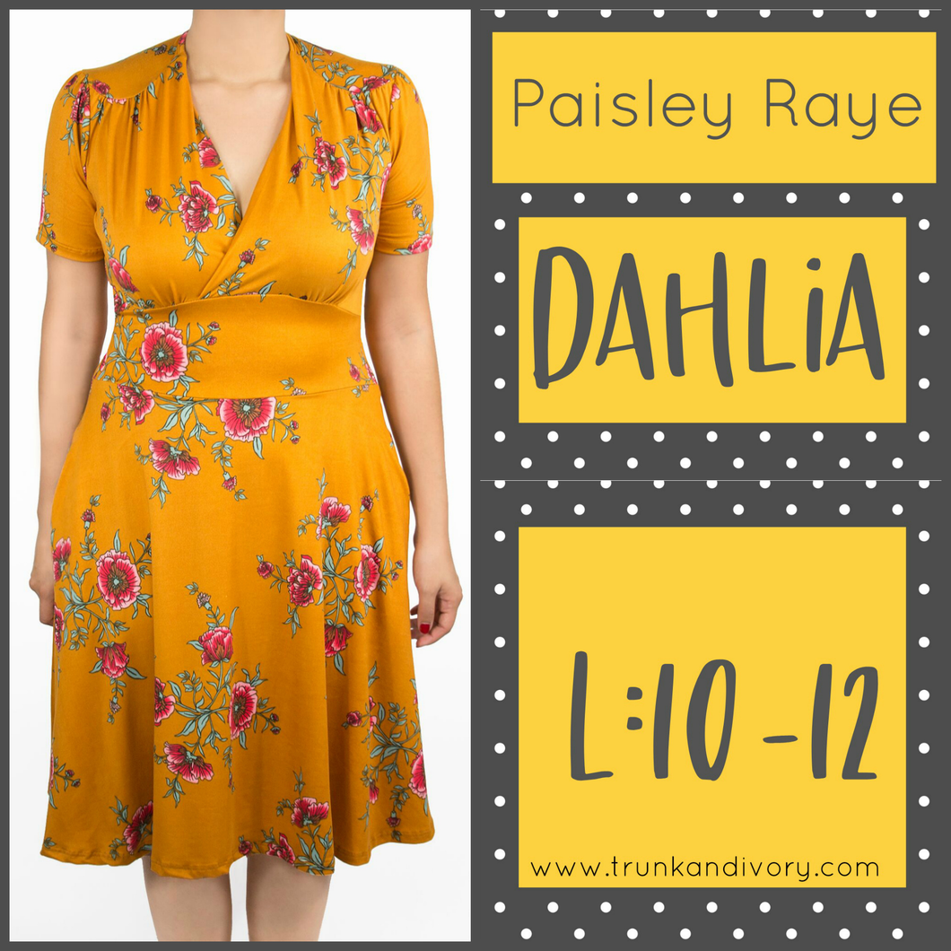 Paisley Raye Dahlia Tea Dress-Orange Floral-Size L Shop at www.trunkandivory.com