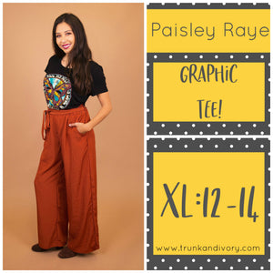 Paisley Raye Graphic Tee-Black Butterfly All you need is love-XL Shop at www.trunkandivory.com