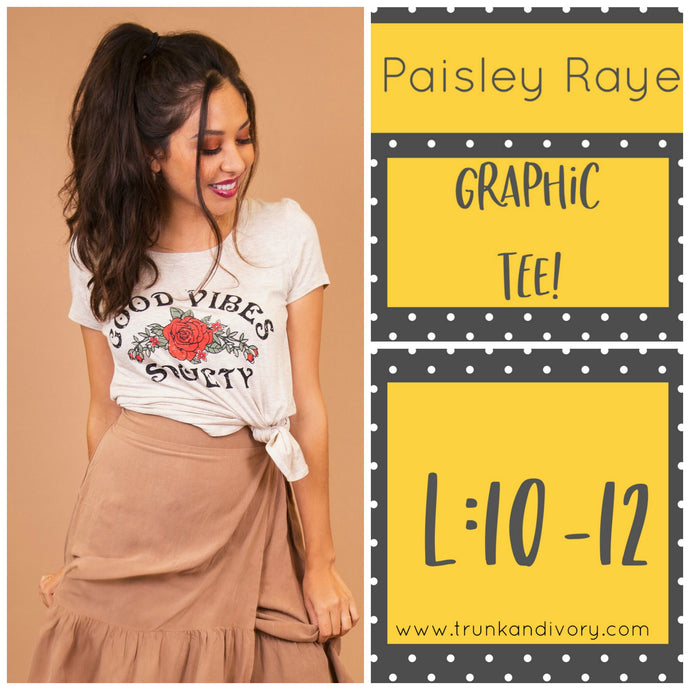 Paisley Raye Graphic Tee- Cream Good Vibes Society-L