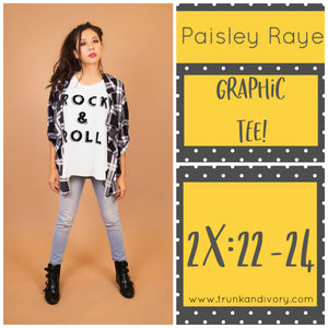 Paisley Raye Graphic Tee- White Rock and Roll- 2X Shop at www.trunkandivory.com
