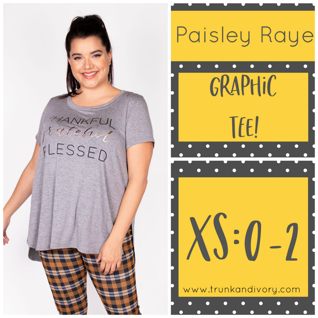 Paisley Raye Graphic Tee-Thankful, Grateful, Blessed- XS Shop at www.trunkandivory.com