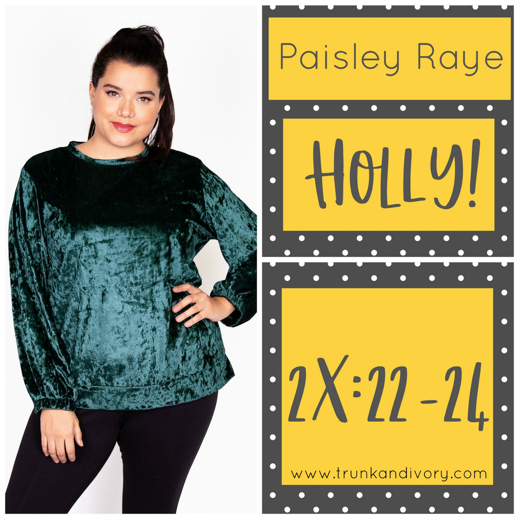 Paisley Raye Holly Velvet Sweatshirt-Emerald Green-2X Shop at Trunk and Ivory, www.trunkandivory.com