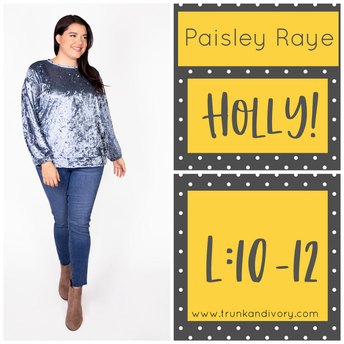 Paisley Raye Holly Velvet Sweatshirt-Blue Grey-L Shop at www.trunkandivory.com