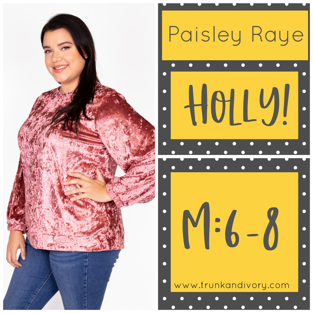 Paisley Raye Holly Velvet Sweatshirt-Pink-M  Shop at www.trunkandivory.com