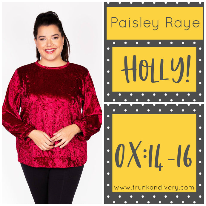 Paisley Raye Holly Velvet Sweatshirt-Red-0X Shop at www.trunkandivory.com