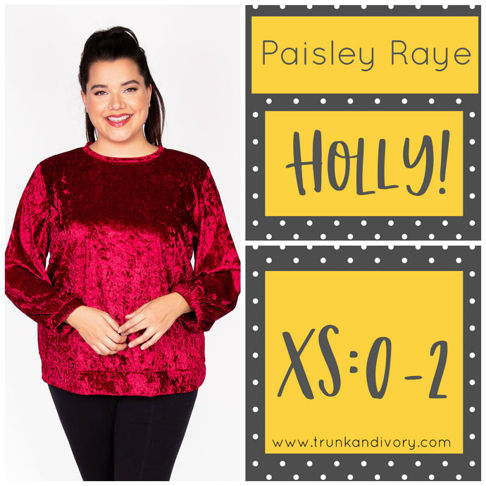 Paisley Raye Holly Velvet Sweatshirt-Red-XS Shop at www.trunkandivory.com