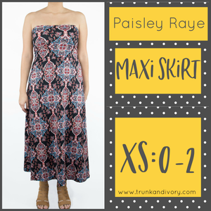 Paisley Raye Convertible Maxi- Blue Print- Size XS By, Trunk and Ivory, Shop now at www.trunkandivory.com