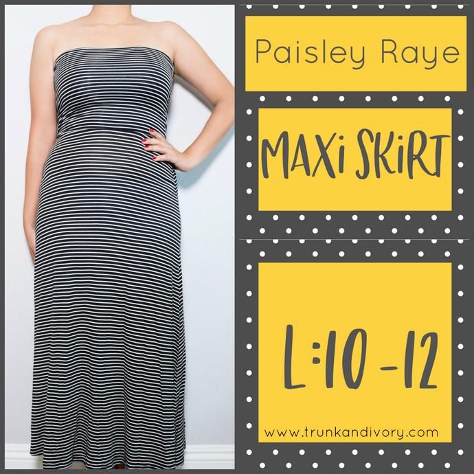 Paisley Raye Maxi Convertible Skirt -Black/White Stripe-L Shop at www.trunkandivory.com